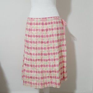 J.Crew Pink Floral A-Line Skirt Size 8